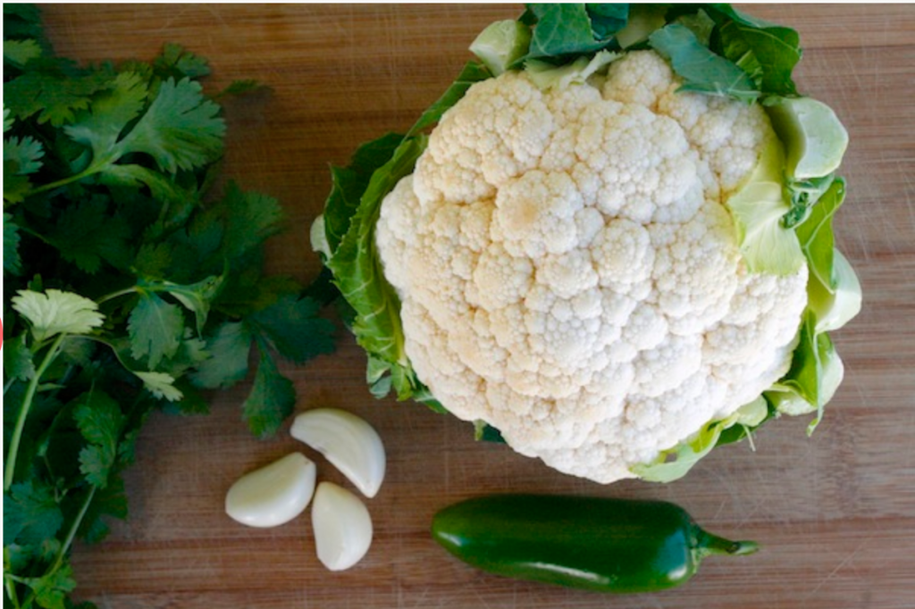 Ingredients for Roasted Cauliflower Steak Drizzled In Jalapeno Cilantro Chimichurri