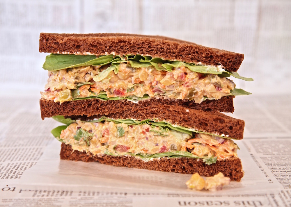 Spicy chickpea salad sandwich for the perfect lunch.