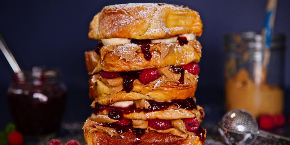 Peanut Butter Raspberry Banana Brioche French Toast