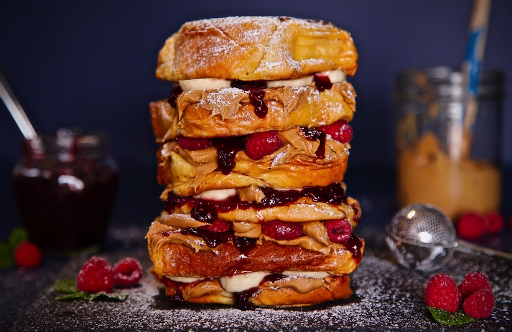 Peanut Butter Raspberry Banana Brioche French Toast could be the perfect gift for Mom this Mother's Day!