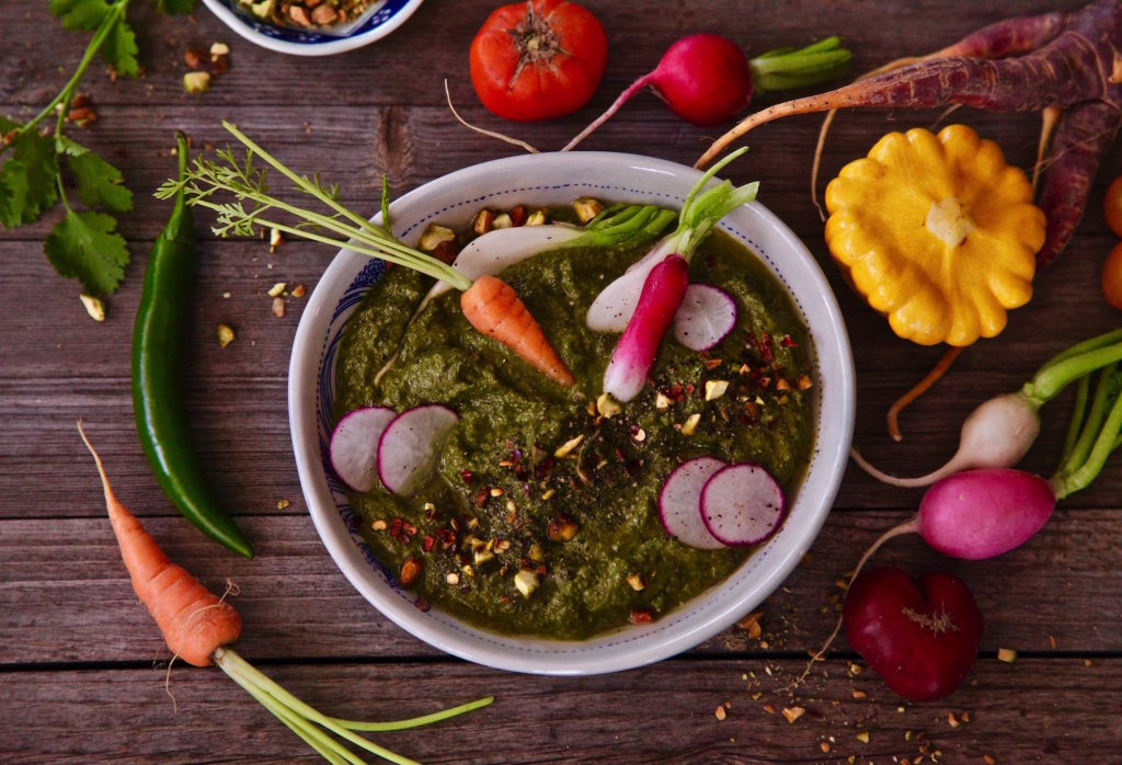 Crudités and serrano cilantro pesto makes for easy entertaining.