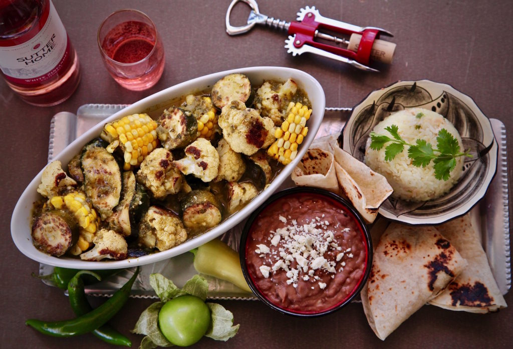 Vegetarian Chile Verde paired with Sutter Home White Zinfandel for a perfect spice with sweet pairing.