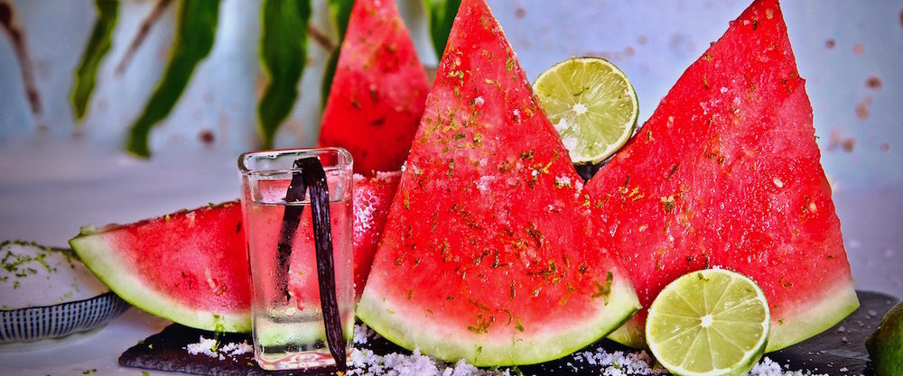 Vanilla Vodka Infused Watermelon Sprinkled In Lime Sugar