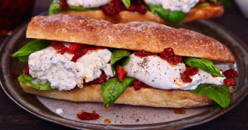 Easy Burrata Cheese Sun Dried Tomato Sandwich