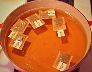 TADIN Artichoke Tea Blend boiling to make Iced Tea.