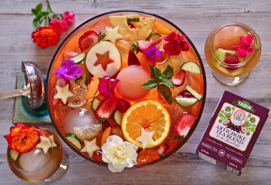 TADIN Fruity Iced Tea Punch Bowl. Made with TADIN Artichoke Tea Blend.