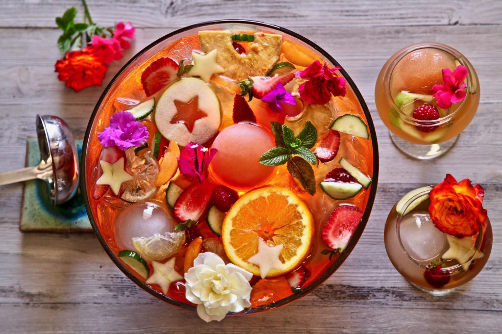 Fruity Iced Tea Punch Bowl made with TADIN Artichoke Tea Blend