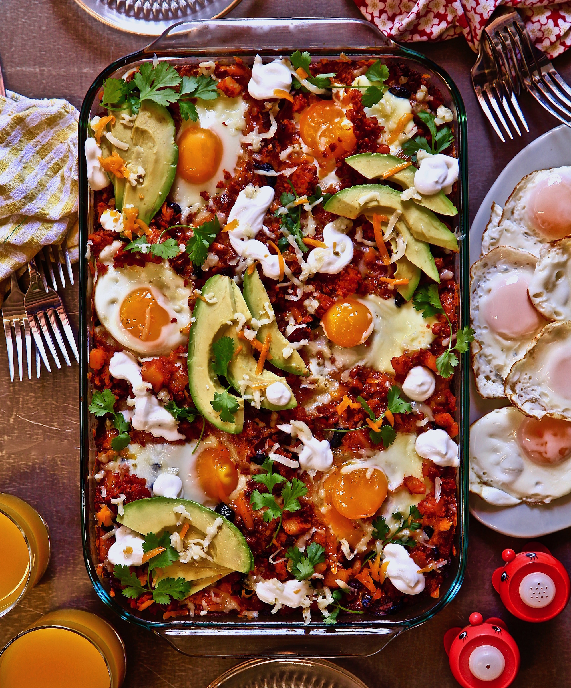 Breakfast enchiladas with eggs on top, all ingredients were bought at ALDI.
