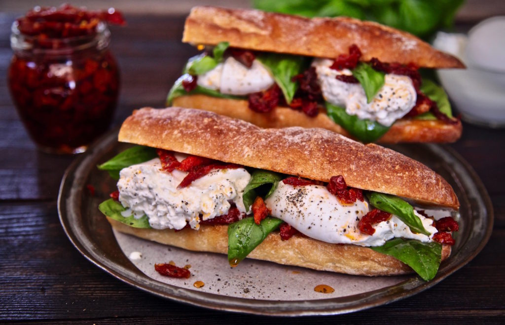 Burrata Cheese Sun Dried Tomato Sandwich Recipe