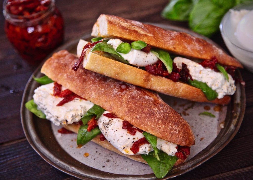 Burrata Cheese Sun Dried Tomato Sandwich
