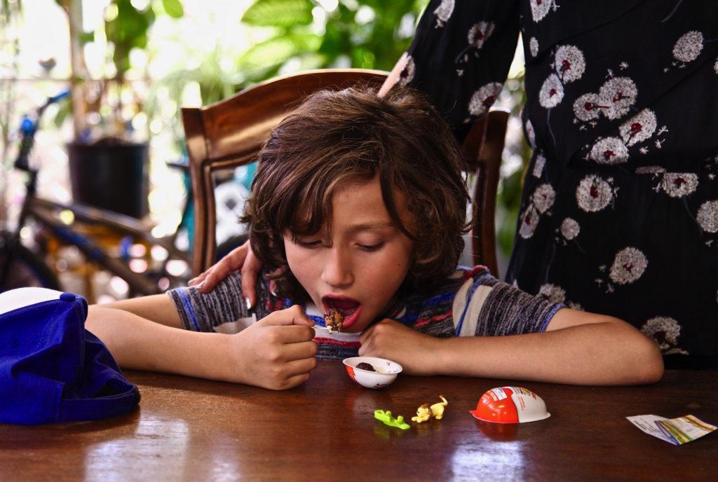 Max enjoying his Kinder Joy™