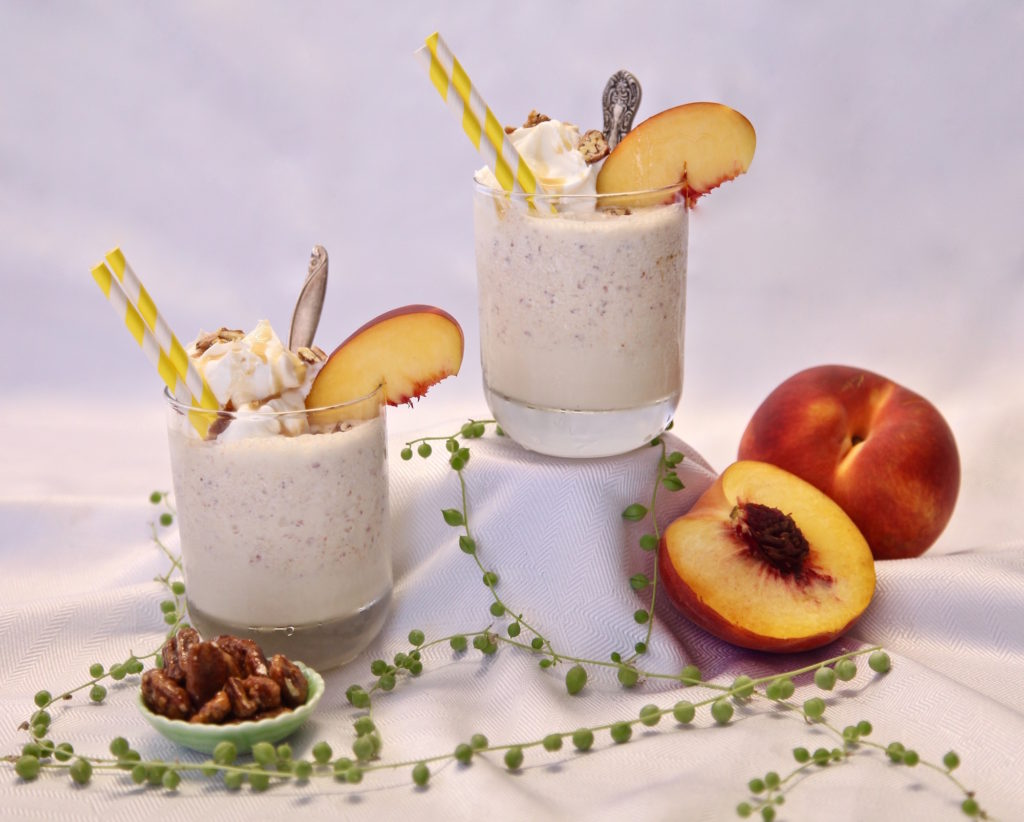 Caramel Peach Buttered Pecan Shake made with Torani.