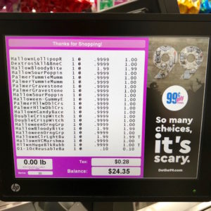 Halloween Candy Receipts from the Montebello 99 Cents only stores