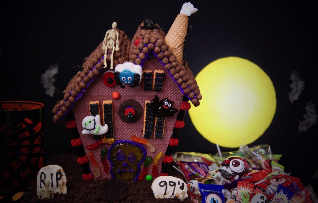 Haunted house halloween candy box made with everything from the 99 cents only stores