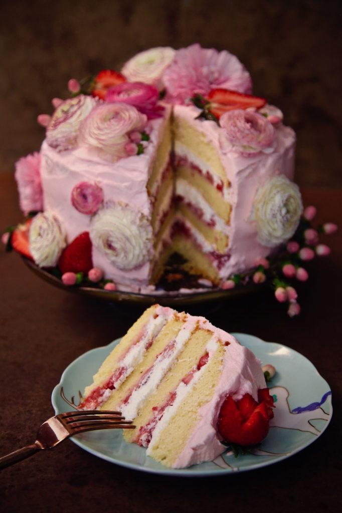 Strawberry Ricotta Cake Sliced