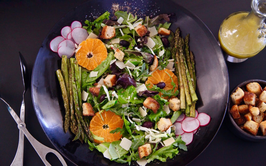 Roasted Asparagus Spring Salad with homemade croutons and salad dressing
