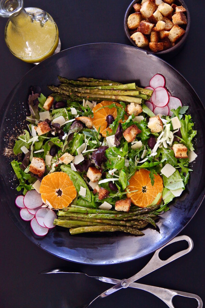 Roasted Asparagus Spring Salad made with homemade croutons and dressing.
