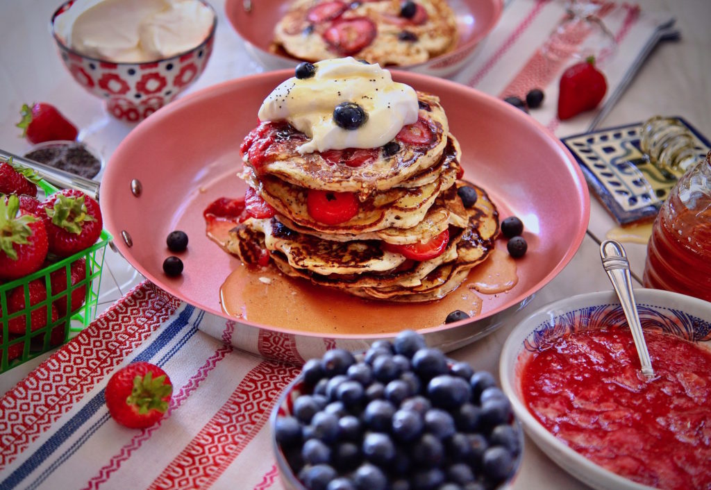 Berry Poppy Seed Pancakes cooked in Tuxton Homes nonstick frypan