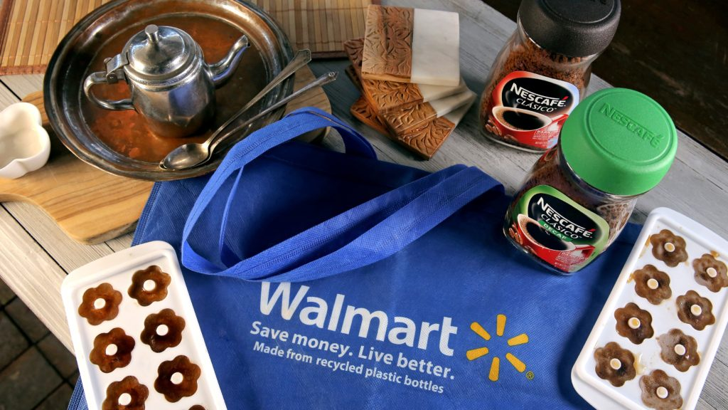 Walmart Bag with Ice trays and Nescafé Clásico