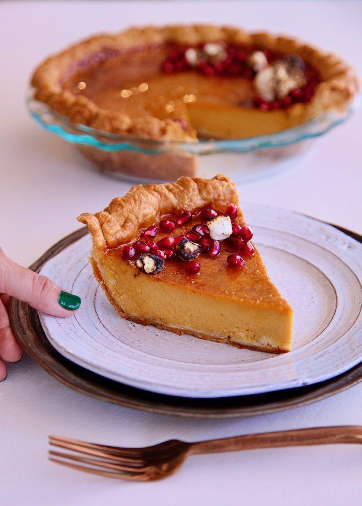 pumpkin flan pie served in a single slice