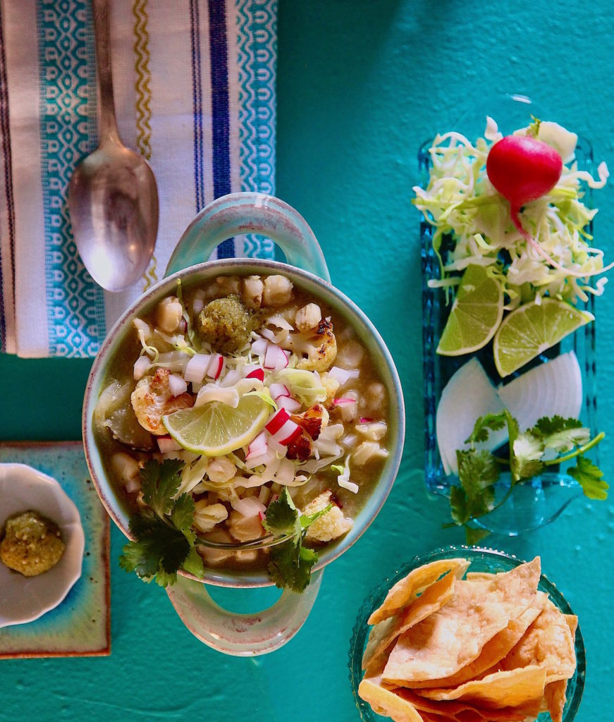 Vegan Cauliflower Pozole Verde. Green Vegan Pozole.