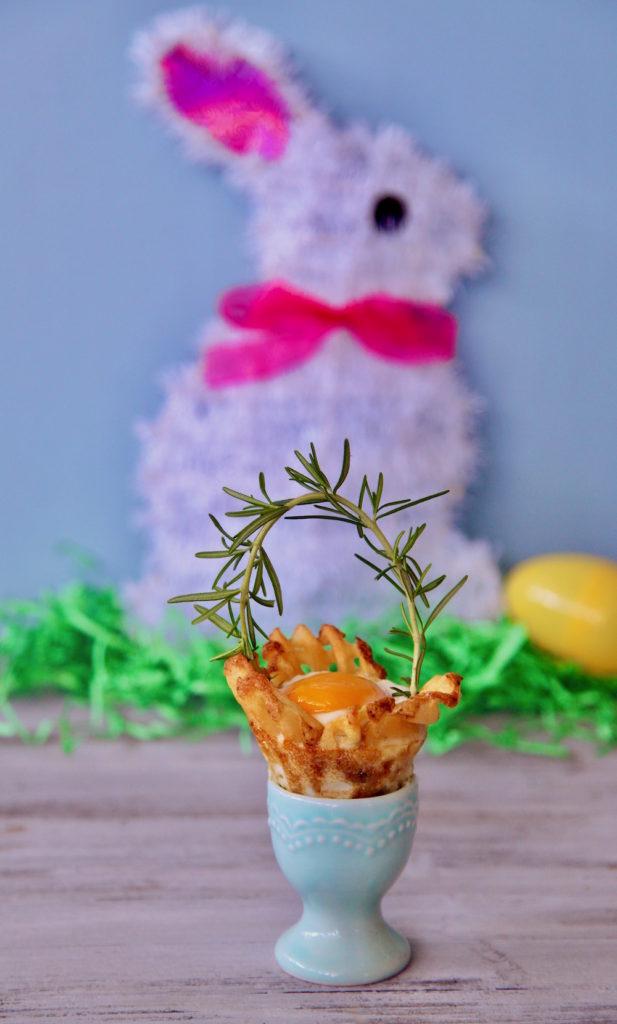 Egg In A Potato Basket in an Egg holder.