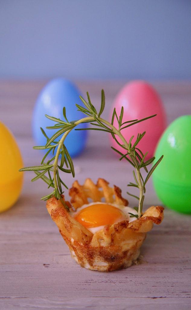 Egg In a potato basket for Easter breakfast.