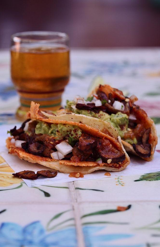 Spicy-Mushroom-QuesiTacos-beer