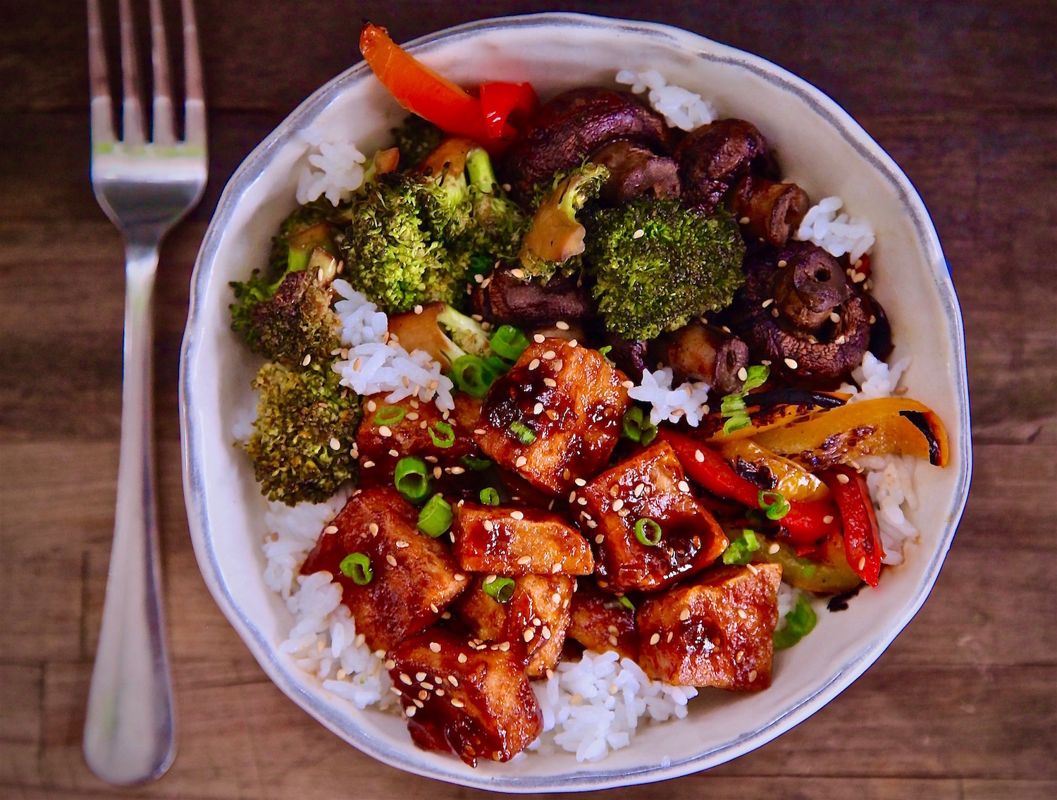 Crispy Tofu BBQ Rice Bowl